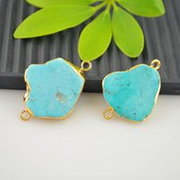 Wholesale Turquoise Connector Beads - New! 5pcs Gold Plated Druzy Stone Connectors Beads For bracelet Jewelry Making