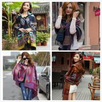 Wholesale New Poncho Fashion - new 2015 Fashion oversize Wool Plaid Bohemia Poncho Women Thick Winter Keep Warm Blanket Scarf lady's shawls free shipping