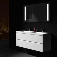 Moderne unità di design up-market da 1200mm preassemblate in fabbrica Tecnica di chiusura morbida Solid Surface Stone Wall al quarzo Hung Vanity 2912L