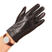 Wholesale Men S Fingerless Leather Gloves - Wholesale-Leather Work Gloves For Men Luxury Brand Men Gloves Fashion Real Sheepskin Leather Glove Winter Warm Free Shipping