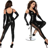 Wholesale Sexy Pvc Adult Costume - Women's Black Faux Leather Sleeveless Catsuit Sexy Adult Zipper Body Stocking Bodysuit Halloween Costume Clothes With Lace Trim