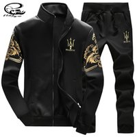 Wholesale Sweatshirt Chinese - Wholesale-Men Sweat Suits New Chinese Style Pattern Men Sport Suit Set Collar Men Tracksuit Famous Brand Men Sweatshirt+Pants Plus Size 4X