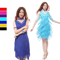 Wholesale Tassel Dance - Latin dance dress,fringe dance dresses,sexy fringe knee length dress,Salsa,tango tassel dresses,black red blue purple colors,L XL size