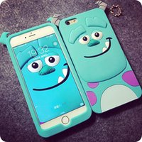 3D Cartoon Tiger Animal Monsters Sulley Alice chat Housse en silicone pour Samsung Galaxy S3 S4 S5 S6 Note 3 Note 4 gratuite