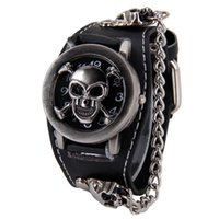 Wholesale Skull Watches For Men - Watches Men's Casual Watches 2015 Antique Cover Design Leather Analog Quartz Skeleton Cool Punk Skull Watch for Men Fashion Male Clock Cavei