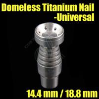 çift camlı nargile toptan satış-Yeni Evrensel Kubbesiz Titanyum Tırnak 14.4mm 18.8mm Çift Fonksiyonlu GR2 Wax Yağ nargile sigara cam fıskiye su boruları bong ...