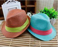 Wholesale fedora styles - 2015 new styles children fedora hat kids sunhats summer girls boys hat kids caps
