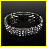 Wholesale Cute Cuffs - Free Ship Cheap 3 Row Stretch Bangle Silver Rhinestones Cute Prom Homecoming Wedding Party Evening Jewelry Bracelet Bridal Accessories 15006