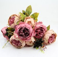 Atacado 2Pc Lot Hight Quality Silk Flower 1 Bouquet Flores artificiais Fall Vivid Peony Fake Leaf Wedding Decoração para casa