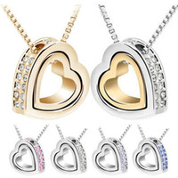 Wholesale Womens Silver Heart Necklace - Necklace Pendants Fashion Womens Heart Crystal Charm Pendant Chain Necklace Silver Plated Jewelry Chains Necklaces