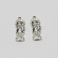 Wholesale mother child charms - 30pcs--27x9mm Antique silver tone Virgin Mary Mother Child Charms pendant for diy Jewelry making