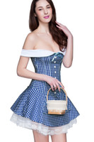 Wholesale Corset Casual Dresses - Women's Sweet Off Shoulder Blue & White Slash Neck Gingham Corset Dress