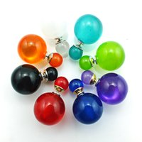 Wholesale Color Ball Earring Studs - Hot Fashion Stud Earrings Eight Color Double Plastics Crystal Ball Cuff Earrings For Women Jewelry EH3436