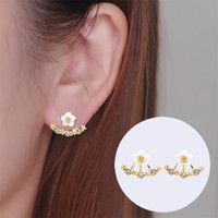 New Fashoin 925 Sliver Earrings Daisy Flower Ear Jacket para mulher Bijoux Jóias Brincos Pendientes Mujer