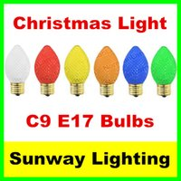 Wholesale E17 Base Led Bulbs - C9 Christmas Lights Faceted LED 25 Replacement Lamps E17 Base 0.5W Muti Color Christmas Light Bulbs Red Color Indicate Light 120V