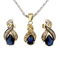 colar de safira de ouro amarelo venda por atacado-Conjuntos de Jóias de Ouro Amarelo Banhado A Opala Natural Genuine Blue Sapphire 8 Design Pingente de Colar Brinco Presentes de Natal OPJS3