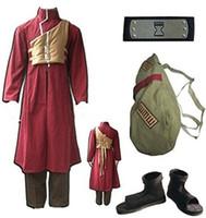Wholesale naruto cosplay online - Naruto Sabaku No Gaara Cosplay Costume Full Set bag and shoes