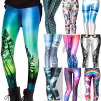 neue galaxy leggings großhandel-21 Design neue Mode Frauen Raum drucken Hosen Galaxy Leggings schwarz Milch Leggings Frauen Leggins freie Größe CH-6523
