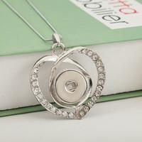 Wholesale Interchangeable Heart Pendant - Hot Sale Rhinestone 115 Heart 18mm Snap Button Pendant Necklace Women Charm Fashion Interchangeable jewelry