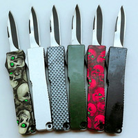 Wholesale Microtech Combat - 6 colors without microtech logo mini Key buckle pocket knife aluminum green black carton fiber double action gift knife xmas knife 1PCS
