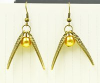 Wholesale Earrings Charming Drop Golden - HOT!!! 5Pairs(10PCS) Silver Tone Golden Snitch Harry Potter Style Drop Earrings Jewelry Personality Girl Gift EH3