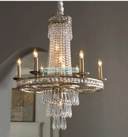Wholesale Vintage Chandelier Crystals - Led Dining room vintage iron chandelier lighting fixture Luxury Crystal hanging lamp Living Room Project bar kitchen lights lamparas