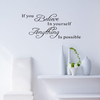Wholesale inspirational vinyl wall decals - NEW If You Believe in Yourself Quote Inspirational Wall Sticker Decals Removable Free Shipping, dandys