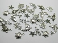 Wholesale Tibet Silver Bead Caps - Wholesale-40 Assorted Tibet Silver Ocean Fish & Sea Animal Charm Pendants