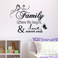 Wholesale Quotes Movies - Family Vinyl Wall Quote Decal Stickers for Home Decor
