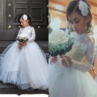 Wholesale little girl collar shirts - Princess 2017 Little Flower Girl Wedding Dresses with Sheer Lace Long Sleeve High Neck Pageant Gowns White First Communion Dres