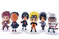 Wholesale Sasuke Itachi Figure - 6pcs set 7CM 2.1 inch Naruto Action figure, Naruto itachi Sasuke Obito Gaara pembunuh PVC mainan Kids toys Children's Day Gifts 201506LY
