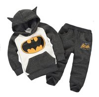 Wholesale Baby Fleece Hoodie Pants - 2016 New Arrival Boys And Girls Clothing Set Children Fashion Batman Hoodies And Pants Baby Clothes Hot Seller