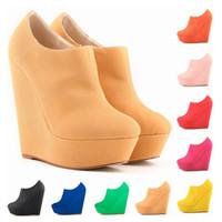 Wholesale Elegent Shoes - New Womens Autumn Winter Elegent Platform High Heels Suede Shoes Ankle Boots Wedges Botas Femininas Europe Size 35-42 D0042