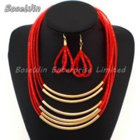 Wholesale Necklace Earrings Neon - 2015 Big Fashion Jewelry Set 5 Layer Neon Net Chains Cross Bright Metal Pipe Choker Necklaces Earring Sets 5 Colors CE1927