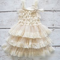 Wholesale White Suspenders For Babies - Babies dresses girls princess dress Chiffon Tier Dress For Girls Birthday Party Dress Ivory Lace Ruffle Layered Dress For Child Dress A7245