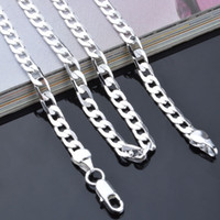 Wholesale 925 Italy Silver Necklace - Top Quality 4mm 925 Sterling Silver Necklace Curb Chain Figaro Chain Necklaces two style Link Italy 16-24inch