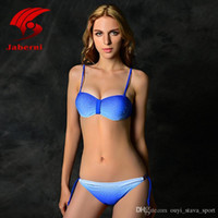 Wholesale Diamond Bandeau Bikini - 2016 Hot Sale Sexy Triangle Bikini Push Up Swimwear Women Elegant Brazilian Biquini Retro Bandeau Swimsuit For Lady Sewing Diamond Beachwear