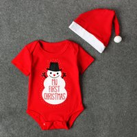 Wholesale girls santa hat - Baby Xmas romper 2pc sets Santa pompon hat+short sleeve red romper infants my first Christmas onesie for boys girls 0-3T christmas gifts