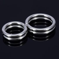 Wholesale Double Cock Rings - Stainless Steel Cock Ring Double Penis Rings Twisted Penis Bondage Gear Restraints Erection Cockrings Male Chastity Device, 2pcs