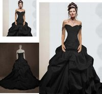 Wholesale Sweetheart Neckline Draped Chiffon Dress - Vintage Gothic Ball Gown Wedding Dresses 2015 Off the Shoulder Straps Sweetheart Neckline Ruched Chapel Train Gothic Black Wedding Gowns A