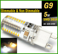Wholesale G9 Led Dimmable 5w - G9 LED 5W Dimmable & Non Dimmable Bulb 110V 220V 240V G9 E14 Base Candle Mini Corn Droplight Replace 40W Halogen Lamp 5W SMD 3014 led