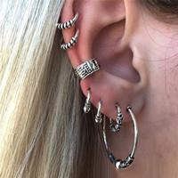 Wholesale Ear Cuff Antique Earrings Silver - Vintage Simple Women Earring Set 7PCS Fashion Ear Nail Cuff Stud Earrings Antique Silver Ear Fashion Fine Jewelry Good Gift