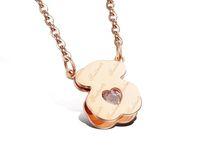 nickel anhänger großhandel-HQ Weißgold plattiert nie verblassen kein Nickel englischer Clip Diamant herzförmiger rosa Diamant Bär Anhänger Halskette Seelenverwandter