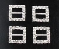 düğün kaydırıcıyı elmas taklidi toptan satış-Sıcak satış ! 50 adet 15 * 15mm Kare Düğün Rhinestone Toka Diamante Şerit Slider Slayt (446)