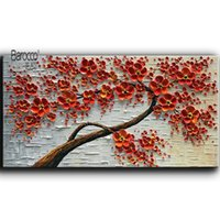 Wholesale modern palette knife for sale - Hand Painted Palette Knife Oil Painting Red Flowers Tree Modern Wall Art Decoration Home Living Room