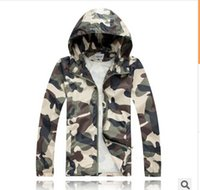 Wholesale Sport Sunscreen Sleeves - Men fashion Slim Super Dry Camouflage Windbreaker Tide Male Hooded Jackets Coats Outdoor Sport Jaquetas Sunscreen thin section