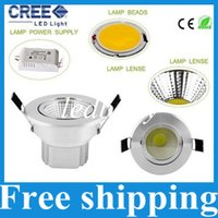 Wholesale Cob Down Lights - Ultar Bright COB 21W 18W 15W 12W 9W Recessed Led Downlights AC 85-277V Dimmable Led Down Lights Warm Cool White + Power Drivers
