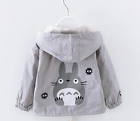 Wholesale Kids Purple Trench Coat - Spring Clothing for Girls Jacket Totoro Print Coat Toddler Girl's Windbreaker Tops Kids Trench Children Clothes