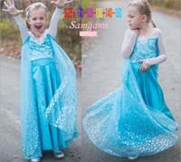 Wholesale Striped Gauze - DHL Fedex Free New Frozen gauze Dress 2015 girl baby sweet princess dance tutu party cape sequins snowflake lace dresses C001