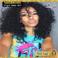 Wholesale Pretty Virgins - Unprocessed Virgin Peruvian Lace Wig Afro Kinky Curly Full Lace Lace Front Wigs Human Hair Glueless with Bleached Knots Pretty